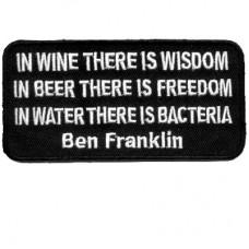 Ben Franklin Wine Wisdom Beer Freedom Water Bacteria patch