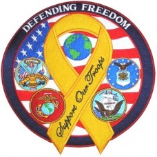 Hero Defending Freedom Support Troops Ribbon Patch-lg