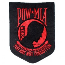 POW MIA Lg Red on Black Patch
