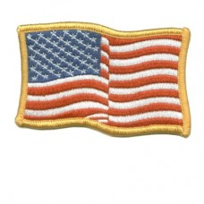 US Flag Gold Waving Patch