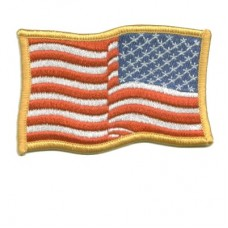 US Flag Gold Waving Reverse Patch