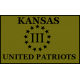 Kansas III% United Patriots 3.25 x 2 inch