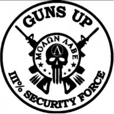 Guns Up Security Force III- 6 inch Decal-Black and White