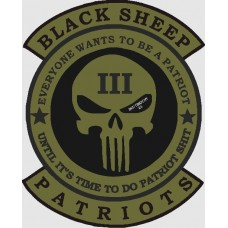 Black Sheep Patriots 12 inch back patch-CLOSE OUT SALE
