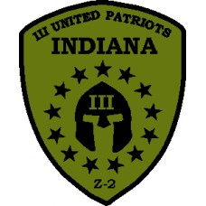 Indiana State III% Patch 3inch by 4inch-OD Green